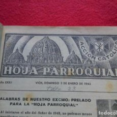Libros de segunda mano: 1943-44 VIC HOJA PARROQUIAL DE VIC 2 AÑOS 24 CMS 104 NUMEROS ENCUADERNADAS EN UN TOMO 600 GRS G6. Lote 99791339