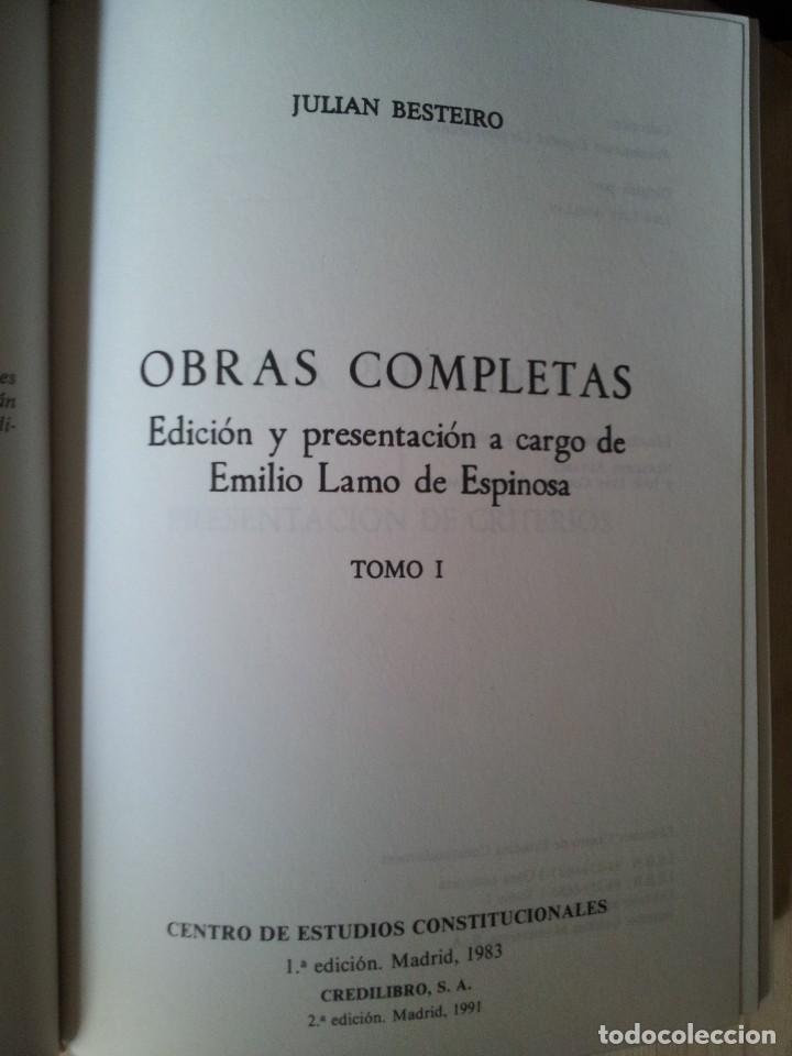 Libros de segunda mano: JULIAN BESTEIRO - OBRAS COMPLETAS EN ESTUCHE DE LUJO 3 TOMOS - 1ª EDICION CREDILIBRO 1983 - Foto 4 - 113782235