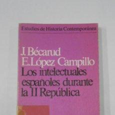 Libros de segunda mano: LOS INTELECTUALES ESPAÑOLES DURANTE LA II REPÚBLICA. BECARUD, JEAN. -LÓPEZ CAMPILLO, E. TDK150. Lote 116523391