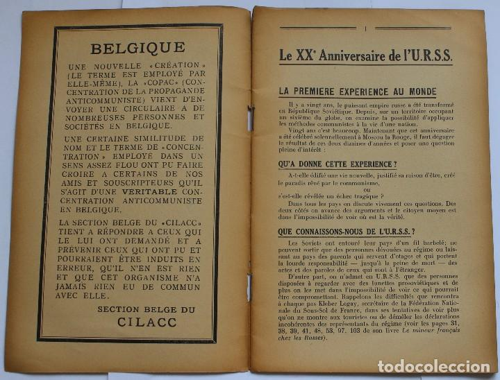 Libros de segunda mano: CILACC DOCUMENTATION ANTI - COMMUNISTE -LE XX ANNIVERSAIRE DE LU.R.S.S.- JANVIER 1938 - Foto 2 - 124431843