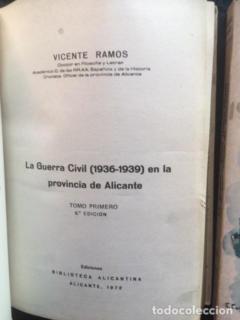 Libros de segunda mano: LA GUERRA CIVIL 1936 - 1939 EN LA PROVINCIA DE ALICANTE - 2 TOMOS (DE 3) - VICENTE RAMOS - Foto 2 - 148009018