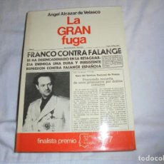 Libros de segunda mano: LA GRAN FUGA.ANGEL ALCZAR DE VELASCO.EDITORIAL PLANETA 1977.-1ª EDICION. Lote 160634914