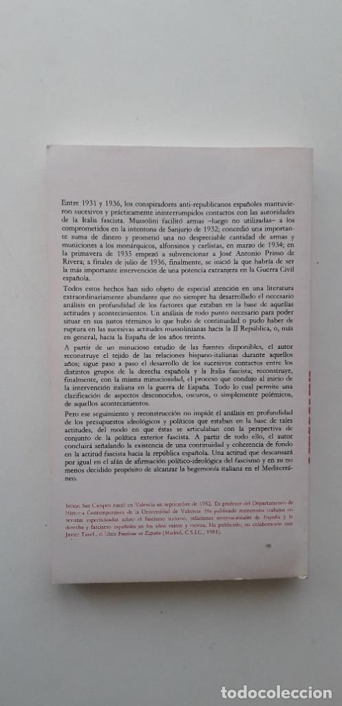 Libros de segunda mano: MUSSOLINI CONTRA LA II REPUBLICA- ISMAEL SAZ CAMPOS - Foto 3 - 166391998