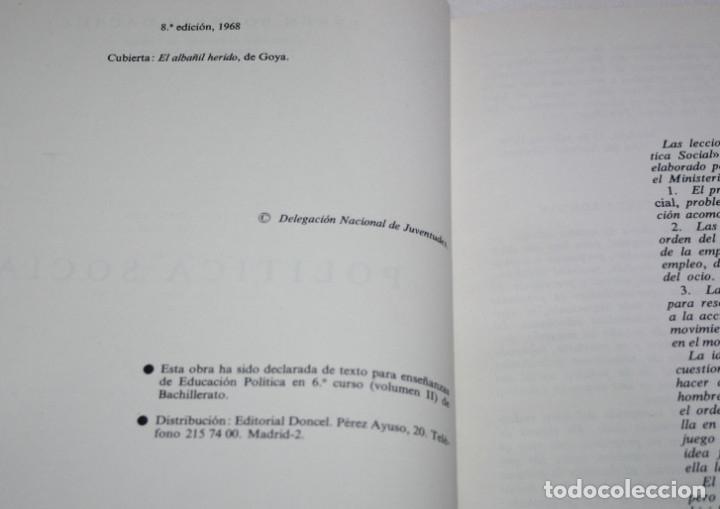 Libros de segunda mano: POLITICA SOCIAL, EFREN BORRAJO, DONCEL 1968, FALANGE, BUEN ESTADO, LIBRO - Foto 2 - 175297905
