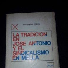 Libros de segunda mano: LA TRADICIÓN EN JOSÉ ANTONIO Y EL SINDICALISMO EN MELLA. JOSÉ MARÍA CODÓN. FRANQUISMO. FUERZA NUEVA. Lote 180024607