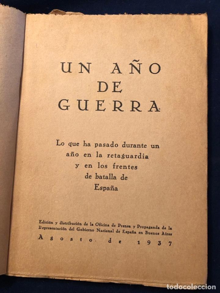 UN AÑO DE GUERRA AGOSTO DE 1937 (Libros de Segunda Mano - Historia - Guerra Civil Española)