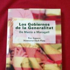 Libros de segunda mano: GUERRA CIVIL ESPAÑOLA. LOS GOBIERNOS DE LA GENERALITAT. PERE ANGUERA. MONTSERRAT DUCH PLANA. Lote 186181586