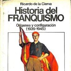 Libros de segunda mano: HISTORIA DEL FRANQUISMO - ORÍGENES Y CONFIGURACIÓN (1939-1945) - RICARDO DE LA CIERVA - EDITORIAL PL. Lote 194792612
