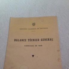 Libros de segunda mano: INSTITUTO NACIONAL DE PREVISION.1944.BALANCE TECNICO GENERAL ,EJERCICIO 1936 AL 1939.GUERRA CIVIL.. Lote 205203297