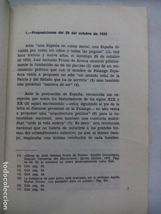Libros de segunda mano: INFORME SOBRE LA FALANGE DE JOSÉ ANTONIO. ENRIQUE DE AGUINAGA. JEFATURA DEL MOVIMIENTO CORUÑA. 1973. - Foto 5 - 212264440