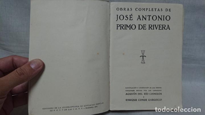 Libros de segunda mano: OBRAS COMPLETAS JOSÉ ANTONIO PRIMO DE RIVERA AÑO 1945 - Foto 2 - 216917125