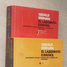 Libros de segunda mano: EL LABERINTO ESPAÑOL. ANTECEDENTES SOCIALES Y POLÍTICOS DE LA GUERRA CIVIL. (VOLUMEN I Y II) - BRENA. Lote 221910793