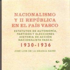 Libros de segunda mano: NACIONALISMO Y II REPUBLICA EBN EL PAIS VASCO(1930-1936) - JOSE LUIS DE LA GRANJA SAINZ. Lote 235666675