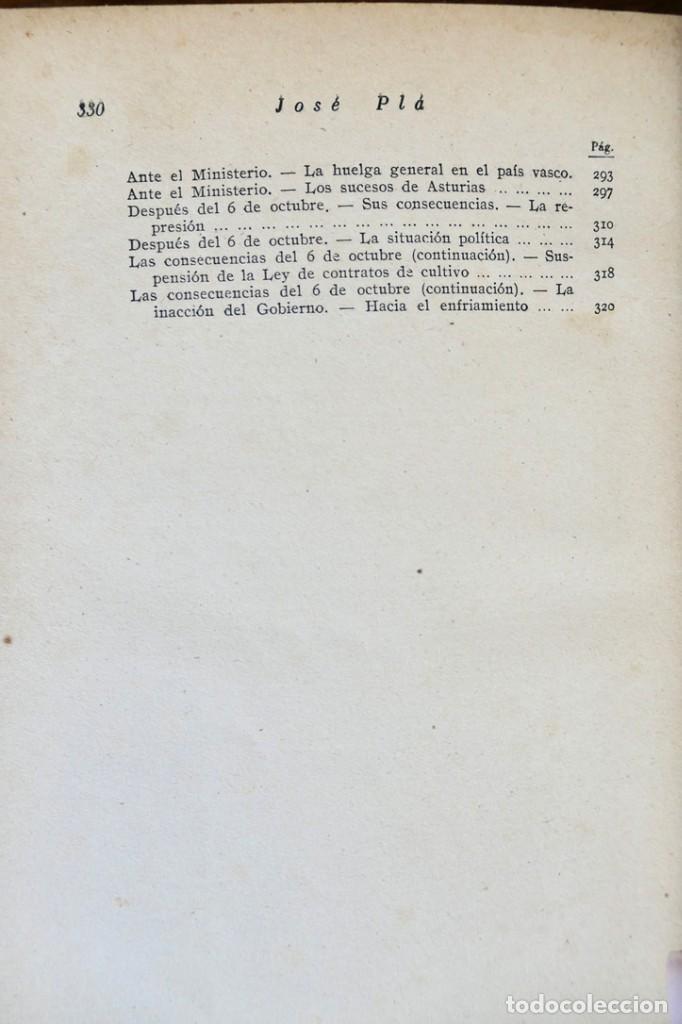 Libros de segunda mano: HISTORIA DE LA SEGUNDA REPÚBLICA ESPAÑOLA- JOSÉ PLA- DESTINO 1940- PRIMERA EDICIÓN - 4 TOMOS - Foto 27 - 243607095