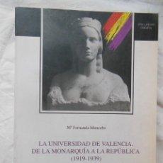 Libros de segunda mano: LA UNIVERSIDAD DE VALENCIA. DE LA MONARQUIA A LA REPUBLICA (1919-1939) MARIA FERNANDA MANCEBO 1994. Lote 244184120