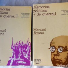 Libros de segunda mano: MEMORIAS POLITICAS Y DE GUERRA. TOMOS I Y II. 1978 MANUEL AZAÑA. Lote 261617780