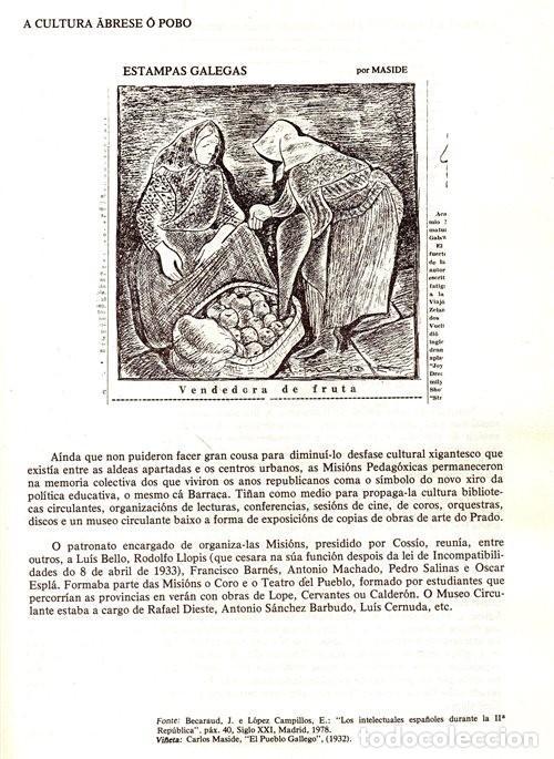 Libros de segunda mano: A EPOCA DA II REPUBLICA VISTA POR CARLOS MASIDE. MARIA ESTHER RODRIGUEZ LOSADA. GALICIA. - Foto 5 - 277196888