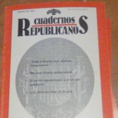 Libros de segunda mano: CUADERNOS REPUBLICANOS. ENERO DE 1991, Nº 5. VALLE Y AZAÑA. MANUEL AZAÑA GOBERNANTE CENTRO DE INVEST. Lote 288094563