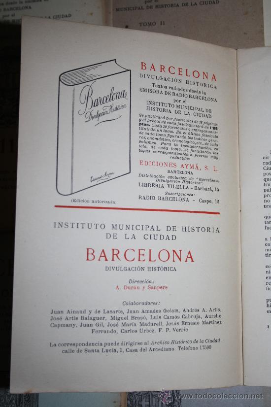 Libros de segunda mano: 1963- 'BARCELONA - DIVULGACIÓN HISTÓRICA' 22 FASCÍCULOS ED. AYMA DIR. DURÁN Y SANPERE BARCELONA - Foto 9 - 30094615