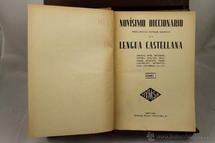 3895- NOVISIMO DICCIONARIO DE LA LENGUA CASTELLANA. VV.AA. EDIT HYMSA. S/F. 5 VOL. (Libros de Segunda Mano - Historia Antigua)