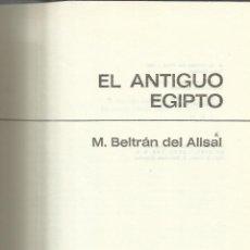 Libros de segunda mano: EL ANTIGUO EGIPTO. M. BELTRÁN DEL ALISAL. EDITORIAL BRUGUERA. BARCELONA. 1973. Lote 41128327