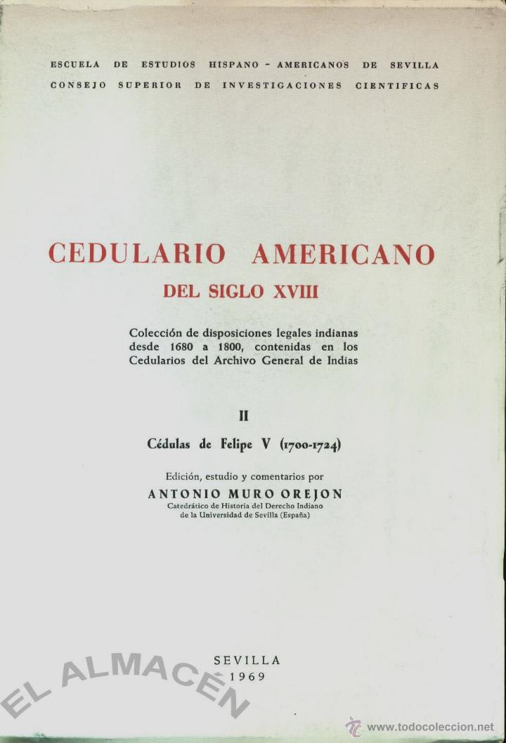 CEDULARIO AMERICANO DEL SIGLO XVIII II (ANTONIO MURO) - 1969 - SIN USAR, INTONSO. (Libros de Segunda Mano - Historia Antigua)