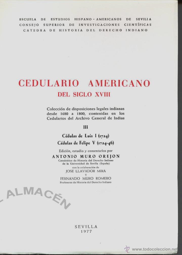 CEDULARIO AMERICANO DEL SIGLO XVIII III (ANTONIO MURO) - 1977 - SIN USAR, INTONSO. (Libros de Segunda Mano - Historia Antigua)