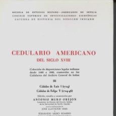 Libros de segunda mano: CEDULARIO AMERICANO DEL SIGLO XVIII III (ANTONIO MURO) - 1977 - SIN USAR, INTONSO.. Lote 43457172