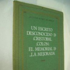 Libros de segunda mano: ANTONIO RUMEU DE ARMAS. UN ESCRITO DESCONOCIDO DE CRISTÓBAL COLÓN. MADRID, 1972.. Lote 293718078