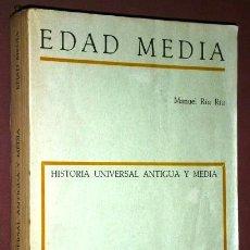 Libros de segunda mano: EDAD MEDIA POR MANUEL RIU RIU DE ED. TEIDE EN BARCELONA 1972 3ª EDICIÓN. Lote 46200369