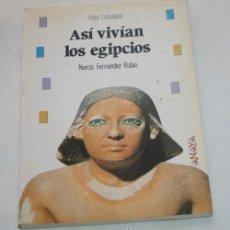 Libros de segunda mano: LIBRO, VIDA COTIDIANA, ASI VIVIAN LOS EGIPCIOS, NARCIS FERNANDEZ RUBIO, ANAYA 1991. Lote 50533726