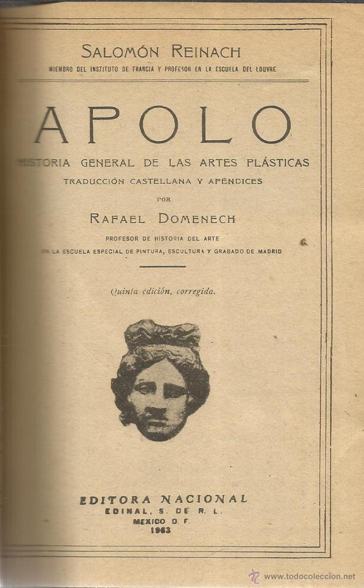 Minimo leggero poi  apolo. salomón reinach. editorial nacional. méx - Buy Books of Ancient  History at todocoleccion - 51924408