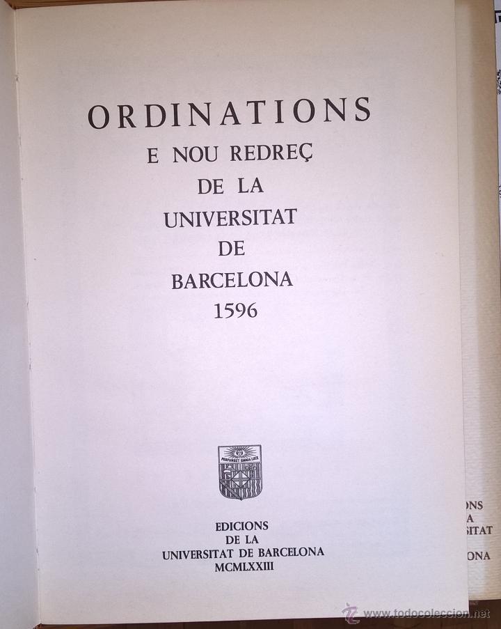 Libros de segunda mano: Universidad de Barcelona. Ordenaciones 1596 en facsimil, 1973 - Foto 2 - 54559367