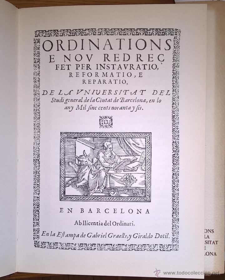 Libros de segunda mano: Universidad de Barcelona. Ordenaciones 1596 en facsimil, 1973 - Foto 3 - 54559367