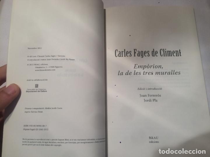 Libros de segunda mano: Antiguo libro Carles Fages de Climent Empòrion de les tres muralles - Foto 2 - 64835435
