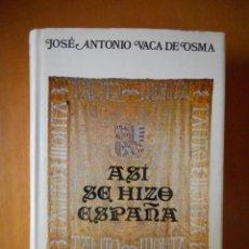 Libros de segunda mano: ASÍ SE HIZO ESPAÑA. JOSÉ ANTONIO VACA DE OSMA. ESPASA - CALPE. 1981. TIENE 628 PÁGINAS. Lote 77558145