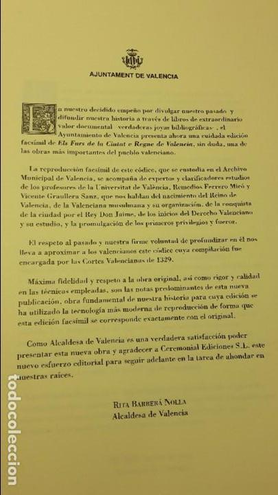 Libros de segunda mano: Els Furs de la ciutat e Regne de Valencia.(FACSIMIL) - Foto 9 - 105672706
