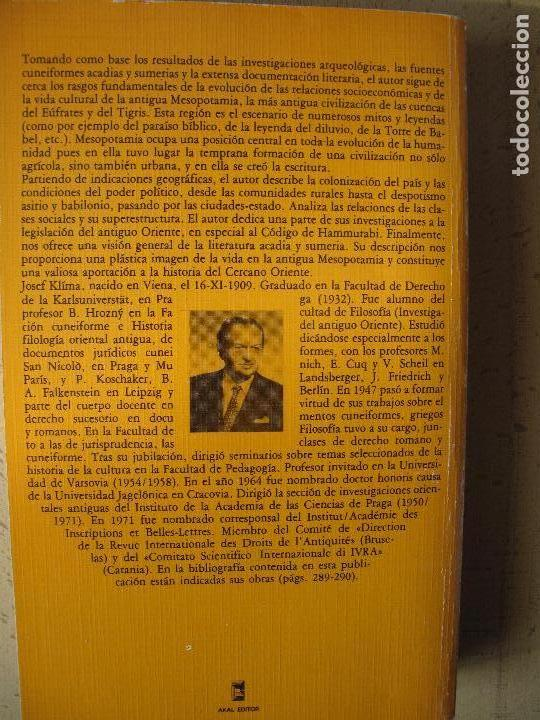 Libros de segunda mano: SOCIEDAD Y CULTURA EN LA ANTIGUA MESOPOTAMIA.- JOAWP KLIMA.- AKAL UNIVERSITARIA - Foto 2 - 103451623