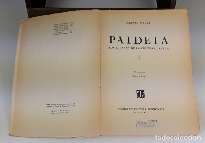 Libros de segunda mano: PAIDEIA. 3 TOMOS. WERNER JAEGER. FONDO DE CULTURA ECÓNOMICA. 2º EDICIÓN. 1946. - Foto 4 - 106994175