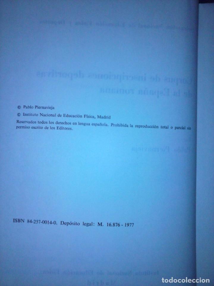 Libros de segunda mano: Corpus de inscripciones deportivas de la España romana - Pablo Piernavieja - Foto 5 - 125402747