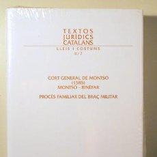 Libros de segunda mano: BRINGUÉ, J. M. - CORT GENERAL DE MONTSÓ (1585). MONTSÓ-BINÈFAR. PROCÉS FAMILIAR DEL BRAÇ MILITAR. TE. Lote 133689986