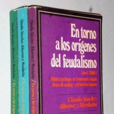 Libros de segunda mano: EN TORNO A LOS ORÍGENES DEL FEUDALISMO. 3 TOMOS . Lote 138919566