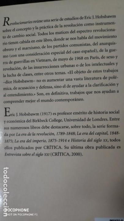 Libros de segunda mano: REVOLUCIONARIOS ( ERIC HOBSBAWM ) - Foto 2 - 142893682
