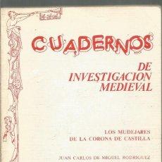 Libros de segunda mano: JUAN CARLOS DE MIGUEL RODRIGUEZ. CUADERNOS DE INVESTIGACION MEDIEVAL. LOS MUDEJARES DE LA CORONA DE . Lote 147699226