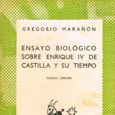 Libros de segunda mano: GREGORIO MARAÑÓN, ENSAYO BIOLOGICO SOBRE ENRIQUE IV DE CASTILLA Y SU TIEMPO . COLECCIÓN AUSTRAL, VER. Lote 149444934