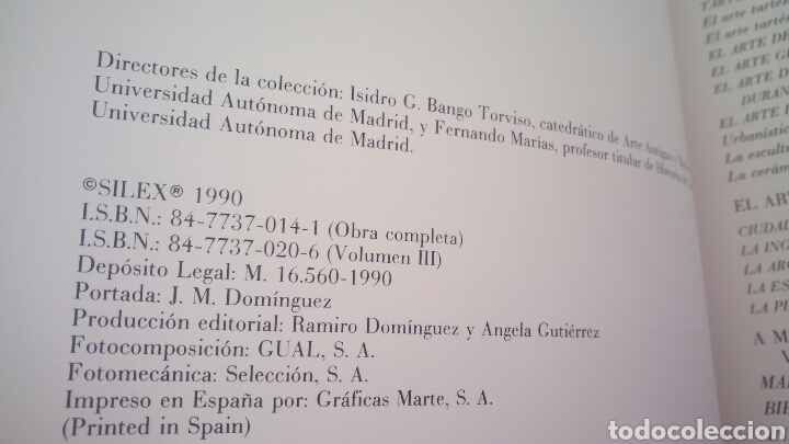 Gebrauchte Bücher: LA ANTIGUEDAD DE LA PREHISTORIA A LOS VISIGODOS - MANUEL BENDALA GALAN - SILEX 1990 - Foto 4 - 152344146