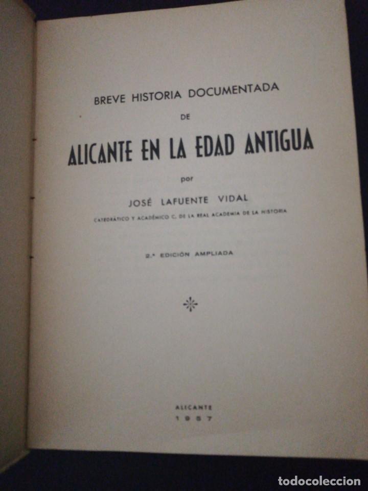 Libros de segunda mano: José lafuente vidal, Alicante en la edad antigua - Foto 2 - 156006418