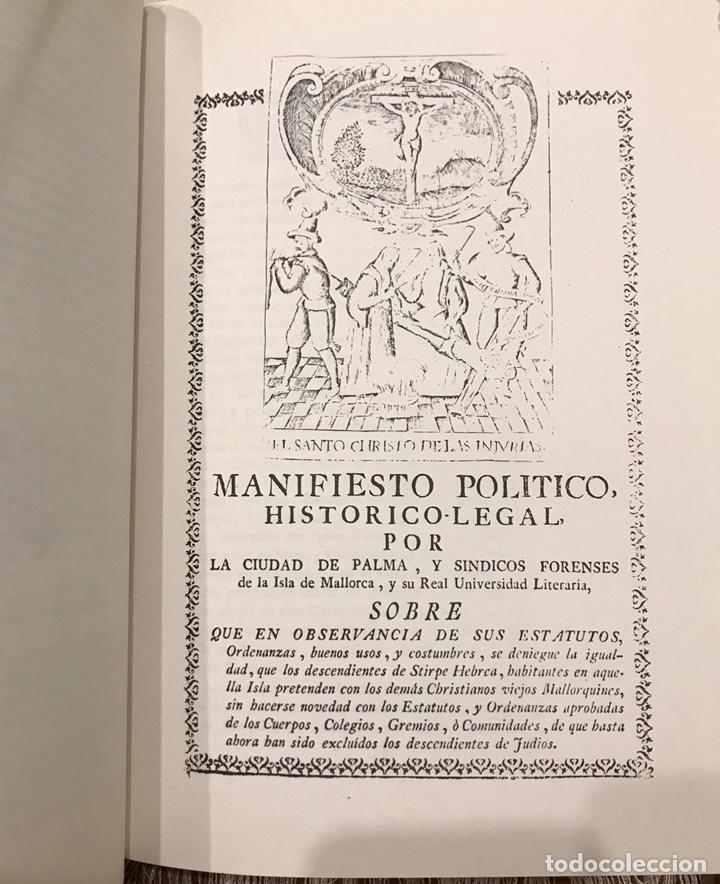Libros de segunda mano: Libro Reivindicacion de los judios mallorquines. Mallorca 1983. Lorenzo Perez. Inquisición. Document - Foto 6 - 155860870