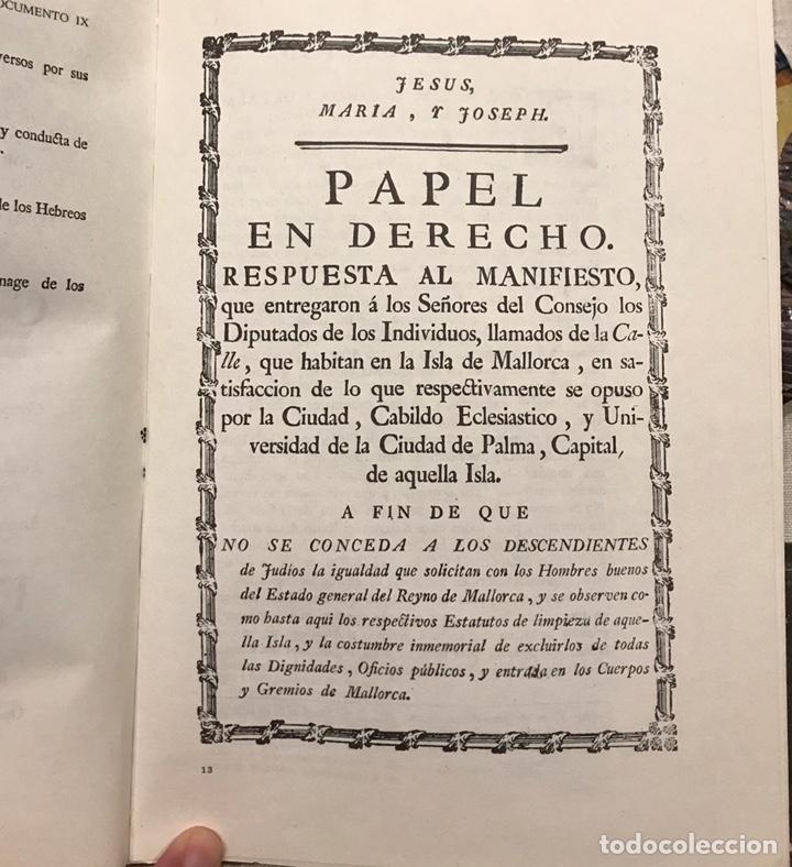 Libros de segunda mano: Libro Reivindicacion de los judios mallorquines. Mallorca 1983. Lorenzo Perez. Inquisición. Document - Foto 7 - 155860870