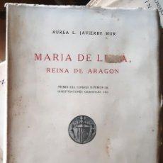 Libros de segunda mano: MARÍA DE LUNA, REINA DE ARAGÓN (JAVIERRE MUR, 1948) SIN USAR. Lote 170072661